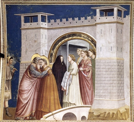 Giotto, Meeting at the Golden Gate, c. 1305 Arena Chapel, Padua