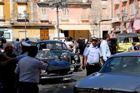 Classic car traffic jam in Piazza Mercato