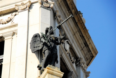 Trumpeter angel, bell tower