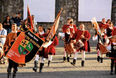 Drummers and Sbandieratori of the Gruppo Storico Marino Marzano