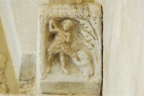 Hunter and beaver, thirteenth century, entrance porch, cathedral of Sessa Aurunca