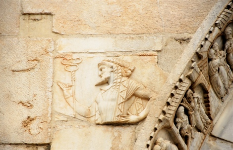 Roman relief of Mercury and scenes from the thirteenth-century St. Peter cycle, portico of the cathedral of Sessa Aurunca