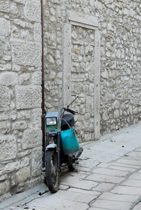Moped, blue bucket