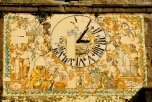 Maiolica clock face, eighteenth century, belltower of Sta. Maria Maggiore, Roccamonfina
