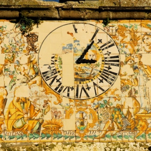 Maiolica clock face, eighteenth century, belltower of Sta. Maria Maggiore, Roccamonfina