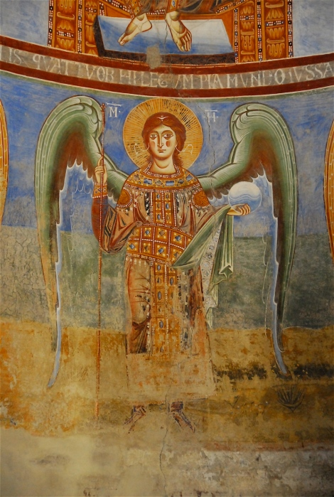 Archangel Michael, detail of the fresco of the apse, Sant'Angelo in Formis, eleventh century