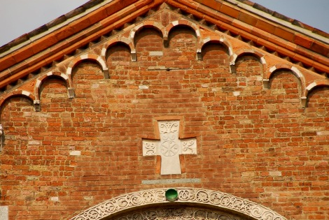 Detail of the gable (with a missing corbel) Sant'Ambrogio, Milan