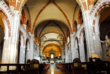 View of the nave, Sant Ambrogio, Milan